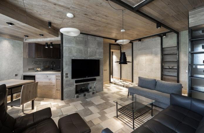 дерево и бетон в интерьере