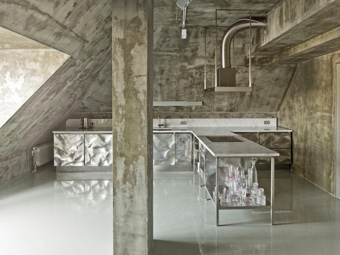 металл и бетон в кухне