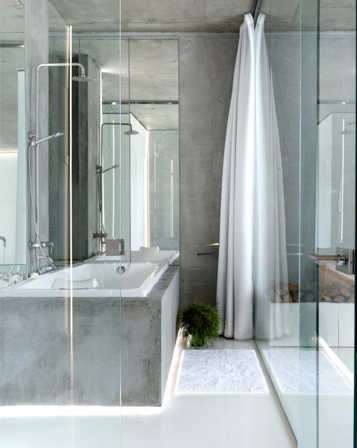 стекло и бетон в ванной