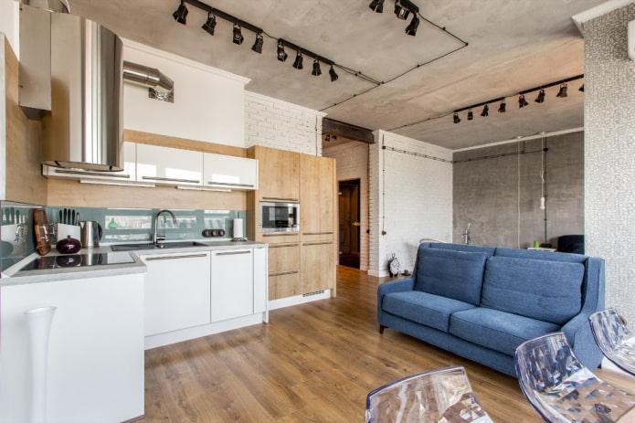 интерьер студии с бетонным потолком