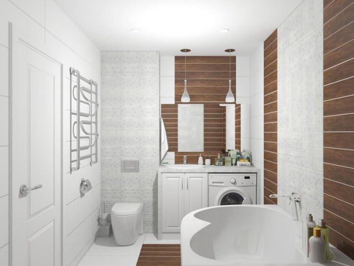 ванная комната в дизайн-проекте двухкомнатной квартиры-хрущевки