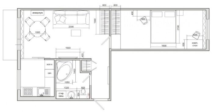 планировка 2-комнатной квартиры хрущевки