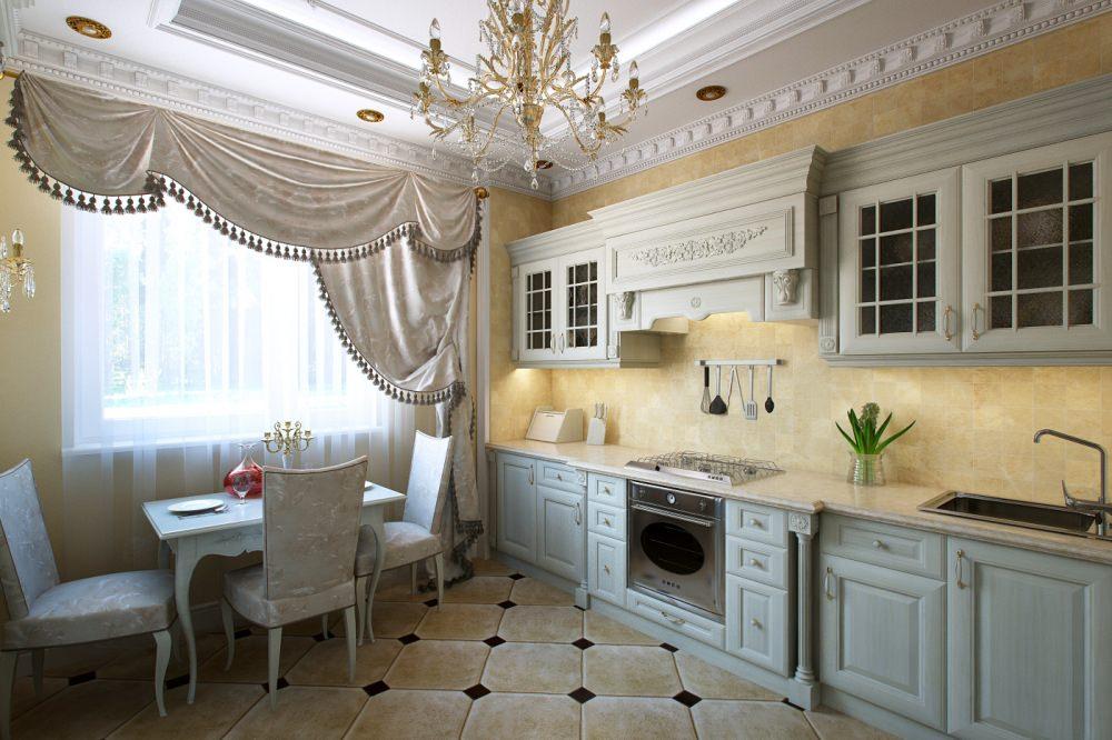 Интерьер кухни стиль классика