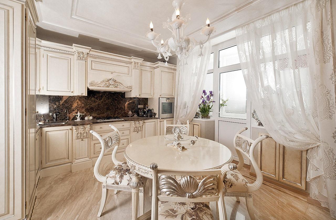 Дизайн кухни белой классика