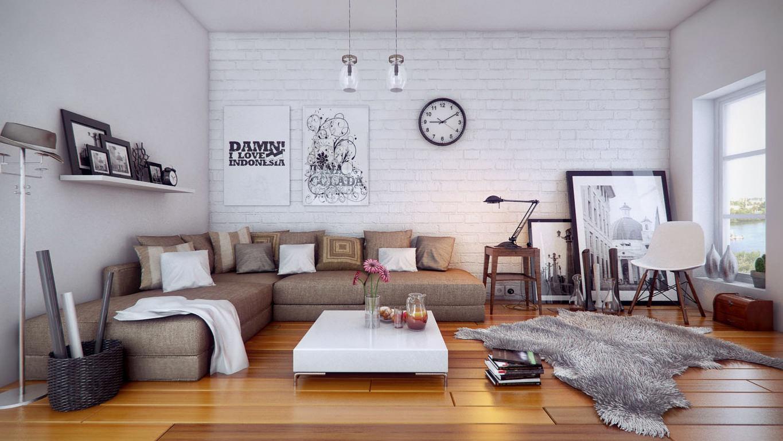интерьер гостиной с кирпичной белой стеной фото