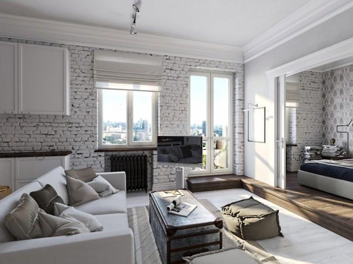 натуральный белый кирпич в интерьре гостиной