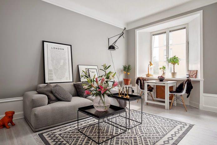 интерьер гостиной в серо-белом цвете