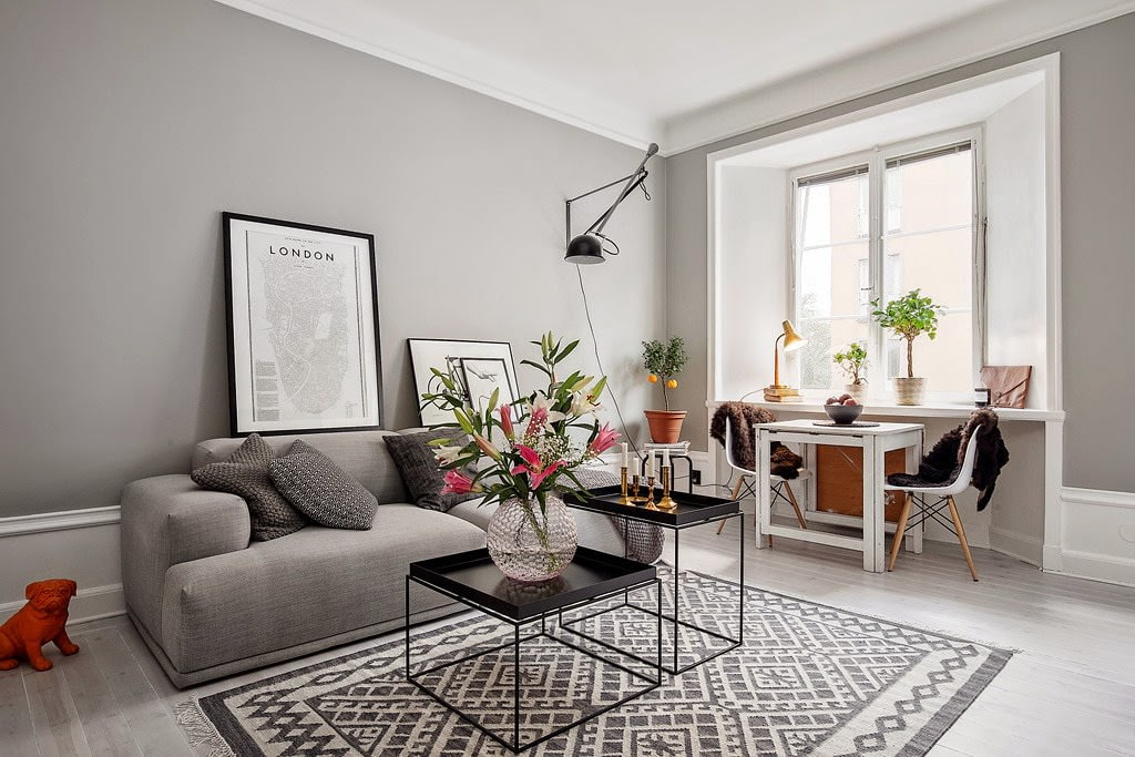 Дизайн гостиной в сером стиле