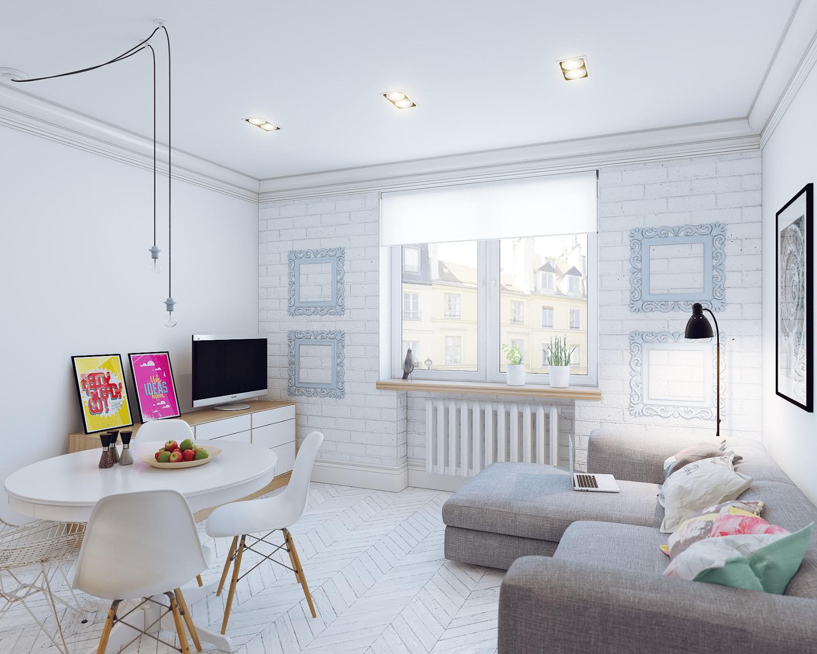 скандинавский дизайн интерьера маленькой квартиры студии 24 кв м