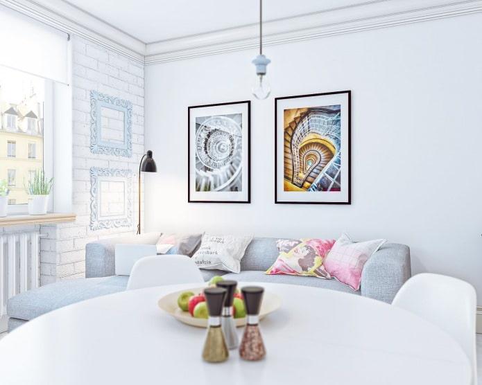 дизайн интерьера маленькой квартиры-студии 24 кв. м.