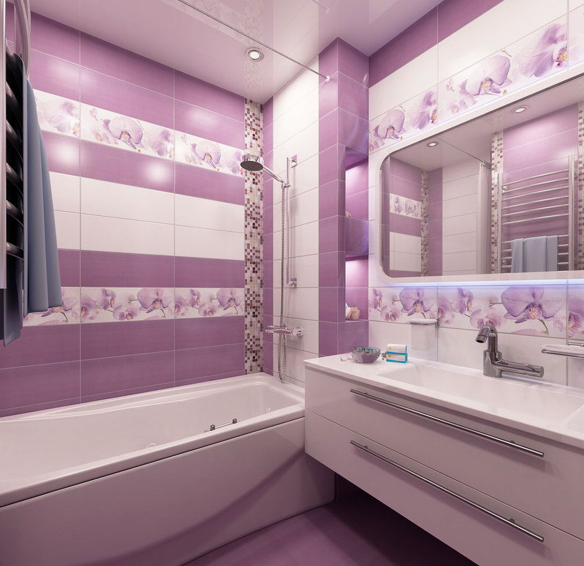 Дизайн ванной фото сиреневого цвета плитка 692