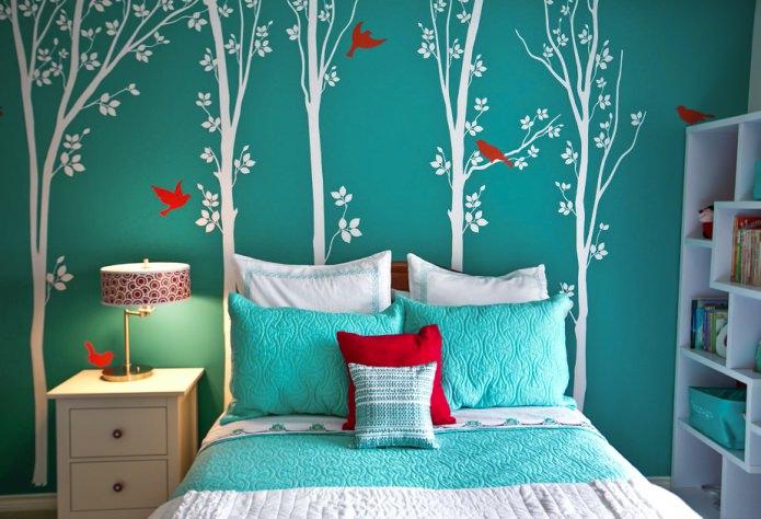 простые рисунки на стене в спальне