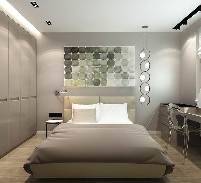спальня в дизайне трехкомнатной квартиры в панельном доме
