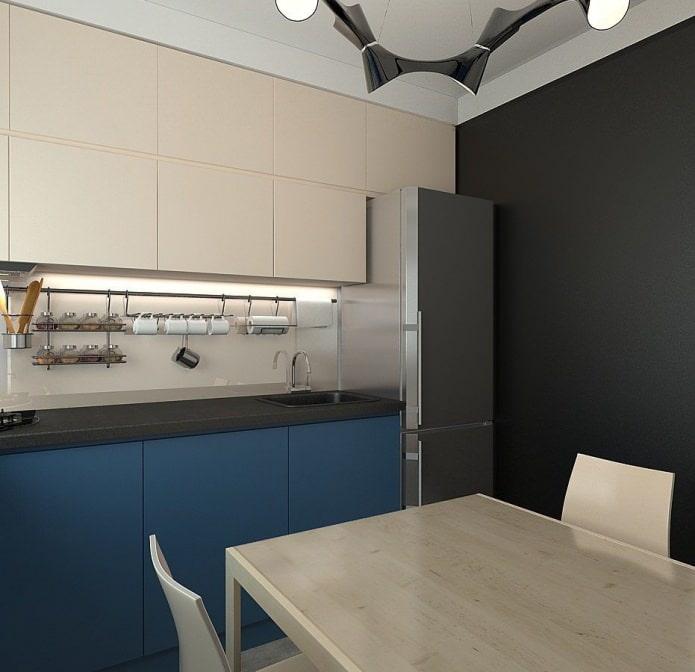 кухня в дизайне малогабаритной 3-комнатной квартиры