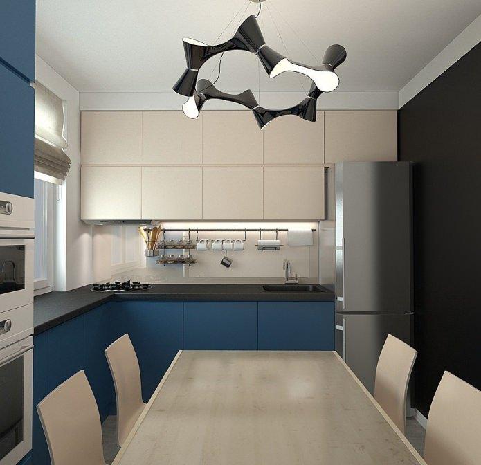 кухня в дизайне трехкомнатной квартиры в панельном доме