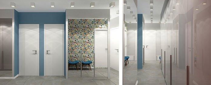 прихожая в дизайне малогабаритной 3-комнатной квартиры