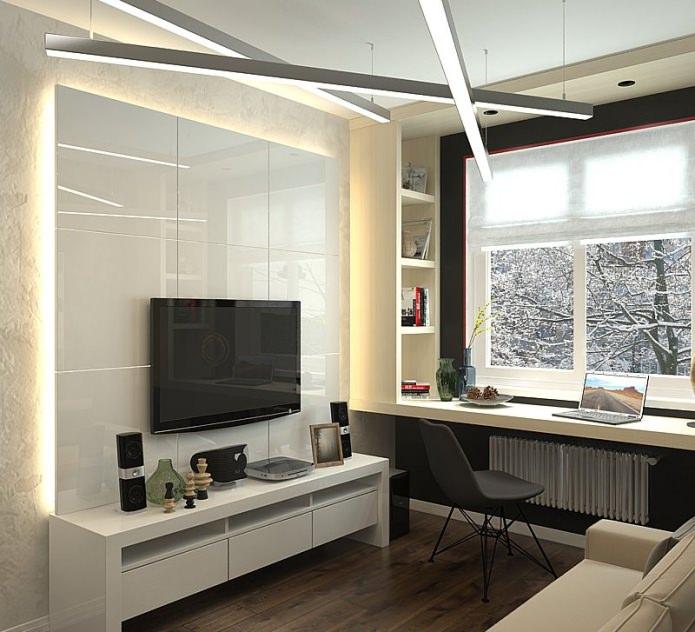 Гостиная в дизайне квартиры 63 кв. м.