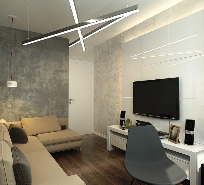 гостиная в дизайне трехкомнатной квартиры в панельном доме