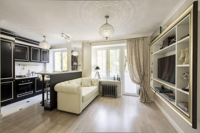 Интерьер маленькой квартиры в стиле арт-деко 29 кв. м.