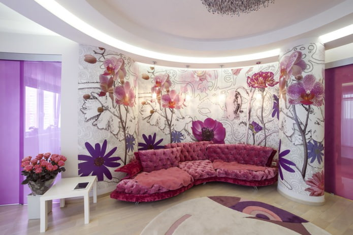 Красивые обои для гостиной в розовых тонах