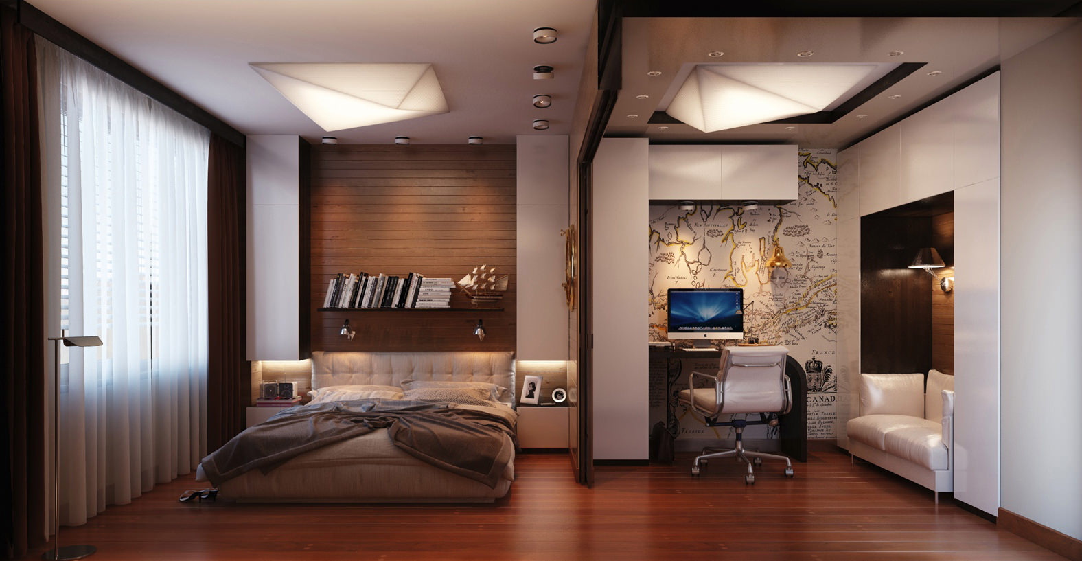 Дизайн спальни гостинной 21 метров