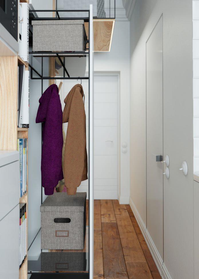 выдвижной шкаф в интерьере квартиры 15 кв. м.