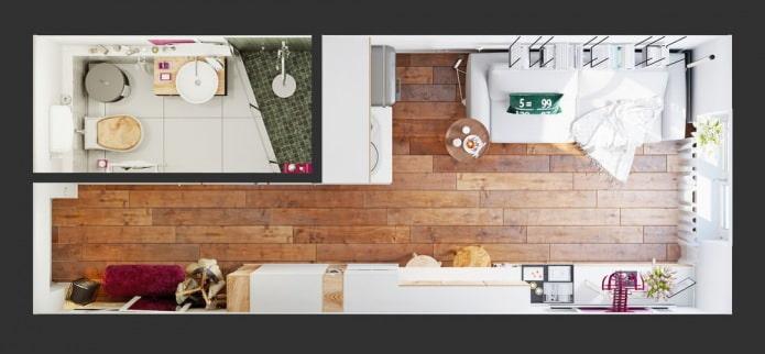 планировка интерьера квартиры 15 кв. м.