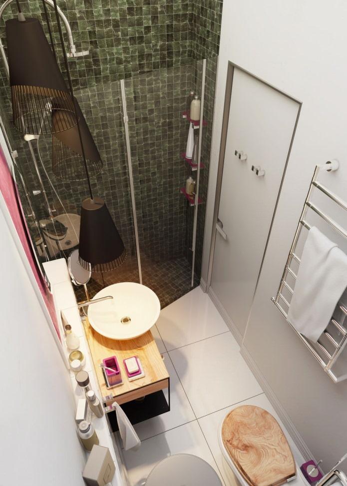 ванная в интерьере квартиры 15 кв. м.