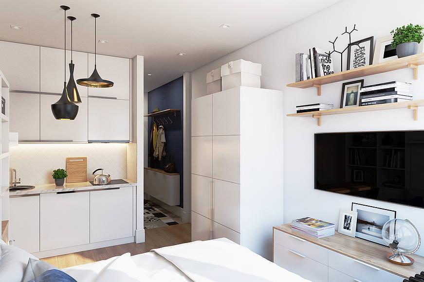 как обставить однокомнатную квартиру 33 кв м фото