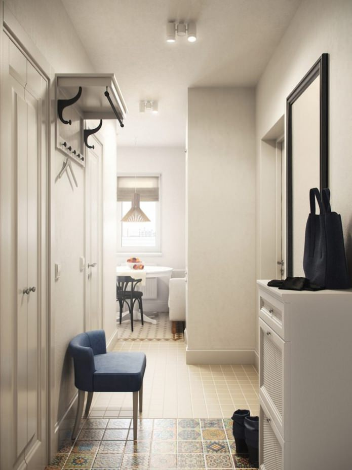 прихожая в интерьере 1-комнатной квартиры