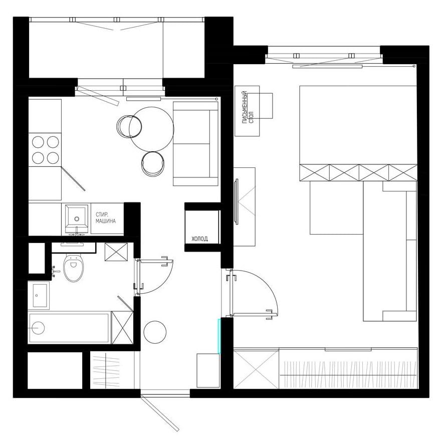 интерьер квартиры 37 кв м фото