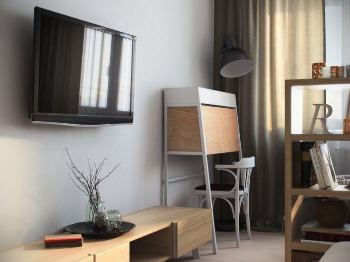 гостиная в дизайне однокомнатной квартиры 36 кв. м.