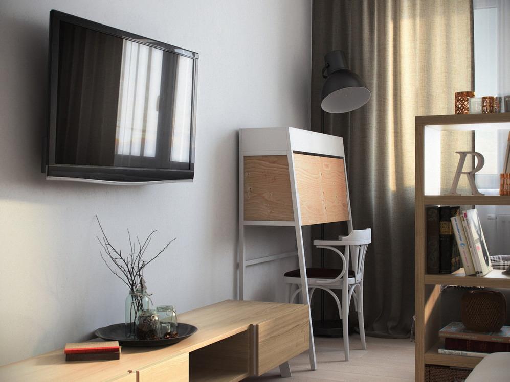 Дизайн гостиной, спальни и кабинета в одной комнате
