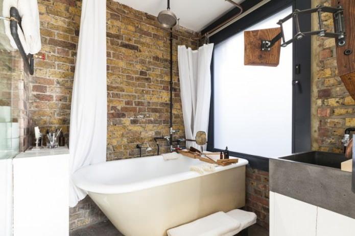брутальный интерьер ванной комнаты