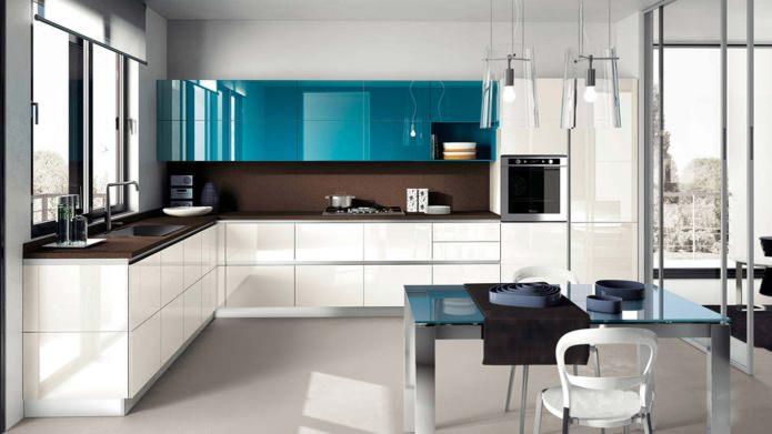 дизайн современной угловой кухни