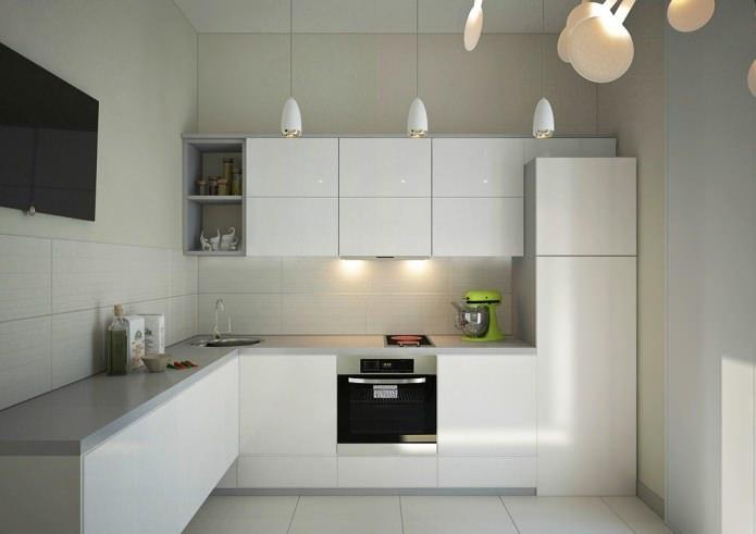 дизайн современной угловой кухни белого цвета