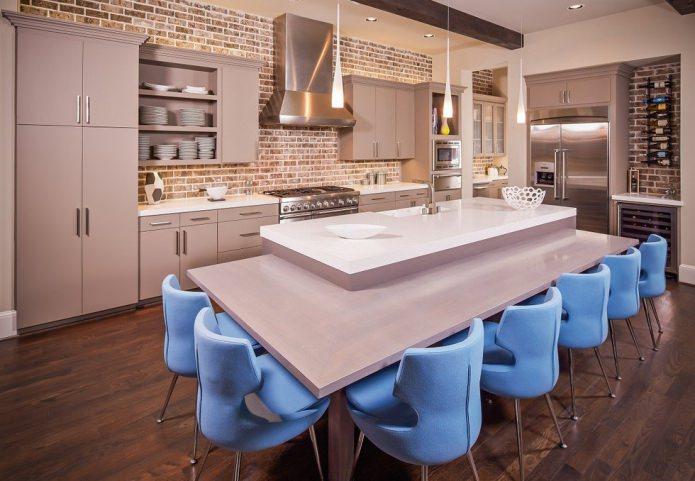 Каменная кладка «под кирпич» в интерьере кухни