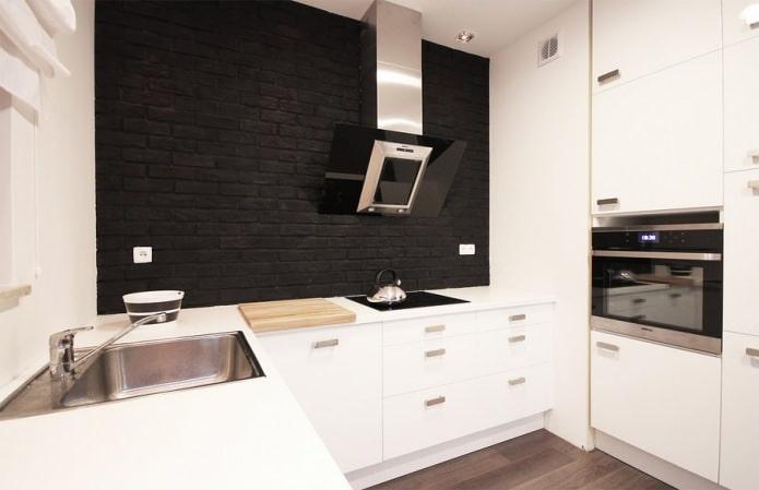 черный кирпич в интерьере кухни