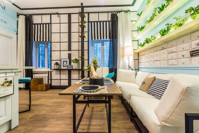 Гостиная совмещенная с кухней дизайн на 20