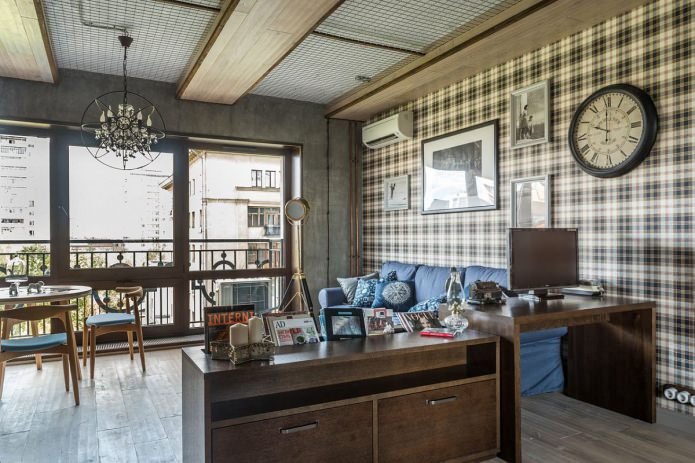 Интерьер маленькой квартиры в стиле лофт 33 кв. м.