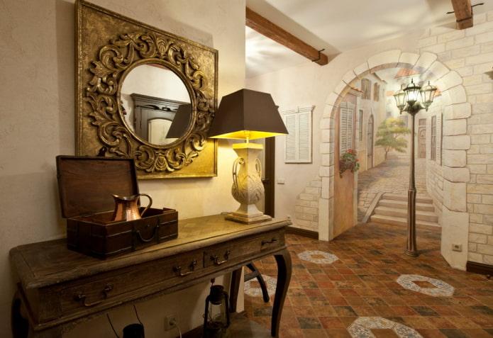 имитация арки в квартире с помощью росписи