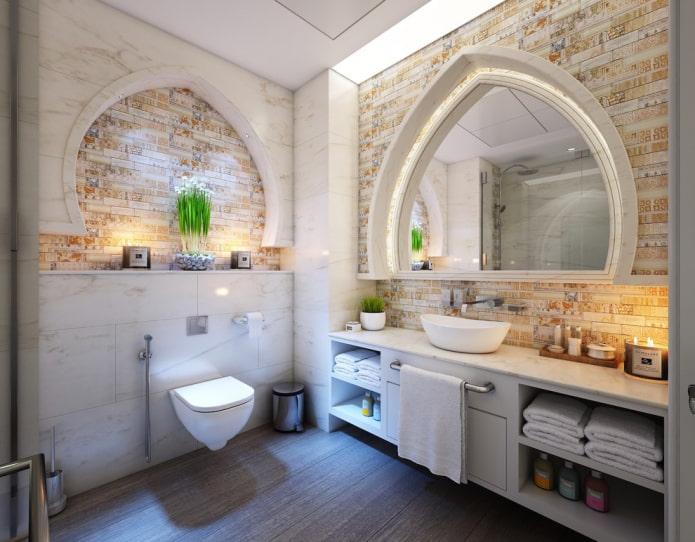 арки на стенах в ванной