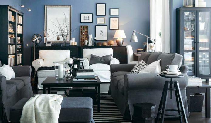 Гостиная в сине-серых тонах