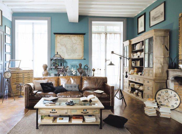 Гостиная в сине-коричневом цвете