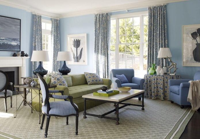 Гостиная в сине-зеленом цвете