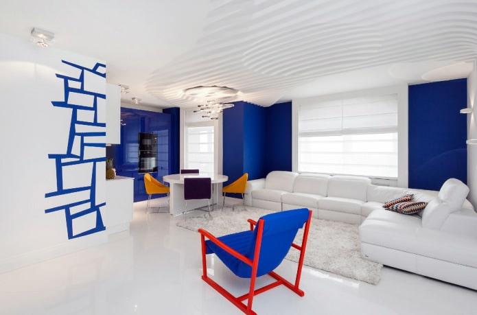 Гостиная в сине-бело-красном цвете