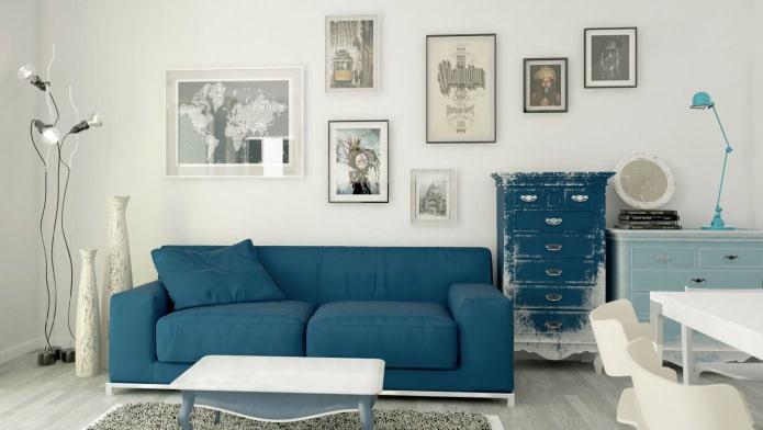 Гостиная в сине-бежевых тонах