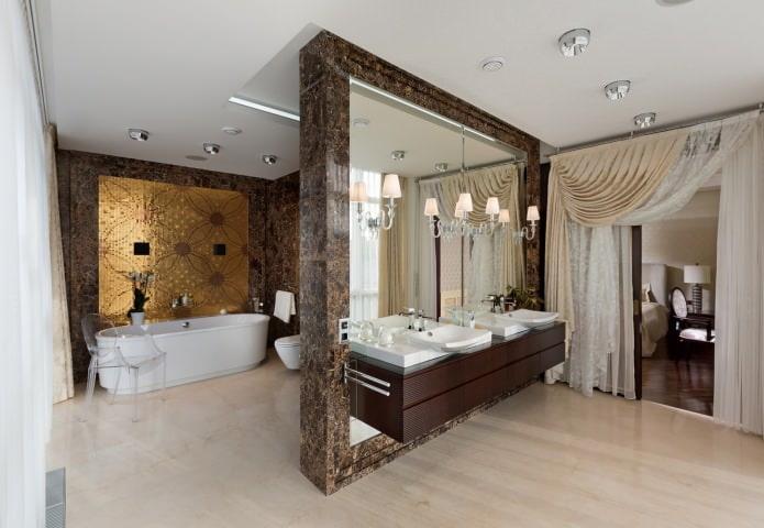 Дизайн ванной в классическом стиле с двумя раковинами