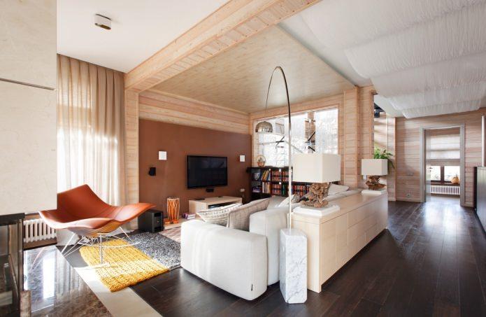 гостиная в дизайне деревянного дома из бруса