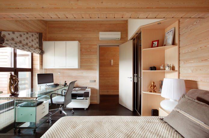 гостевая спальня в интерьере дома из клееного бруса